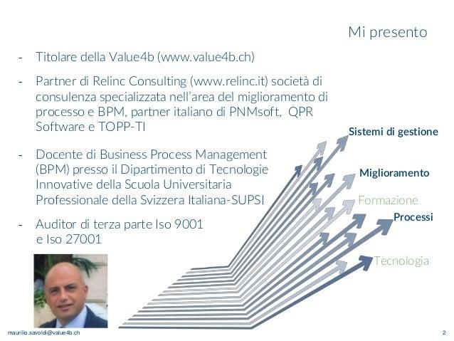maurilio.savoldi@value4b.ch Mi presento 2 ‐ Docente di Business Process Management (BPM) presso il Dipartimento di Tecnolo...
