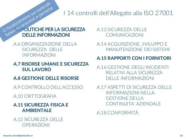 maurilio.savoldi@value4b.ch I 14 controlli dell'Allegato alla ISO 27001 A.5 POLITICHE PER LA SICUREZZA DELLE INFORMAZIONI ...
