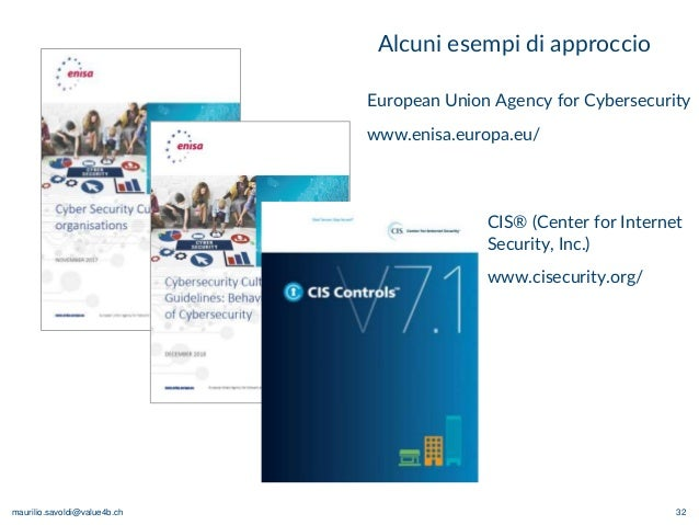 maurilio.savoldi@value4b.ch 32 Alcuni esempi di approccio European Union Agency for Cybersecurity www.enisa.europa.eu/ CIS...