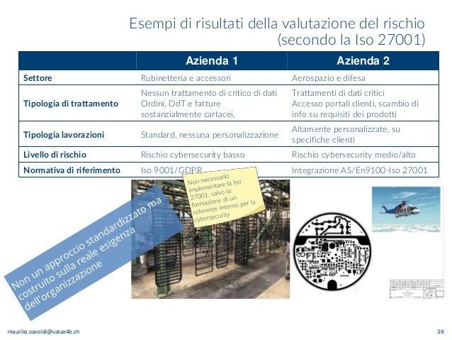 maurilio.savoldi@value4b.ch Esempi di risultati della valutazione del rischio (secondo la Iso 27001) 39 Azienda 1 Azienda ...