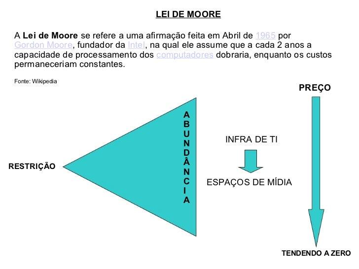 LEI DE MOORE RESTRIÇÃO A B U N D Â N C I A INFRA DE TI PREÇO TENDENDO A ZERO A  Lei de Moore  se refere a uma afirmação fe...