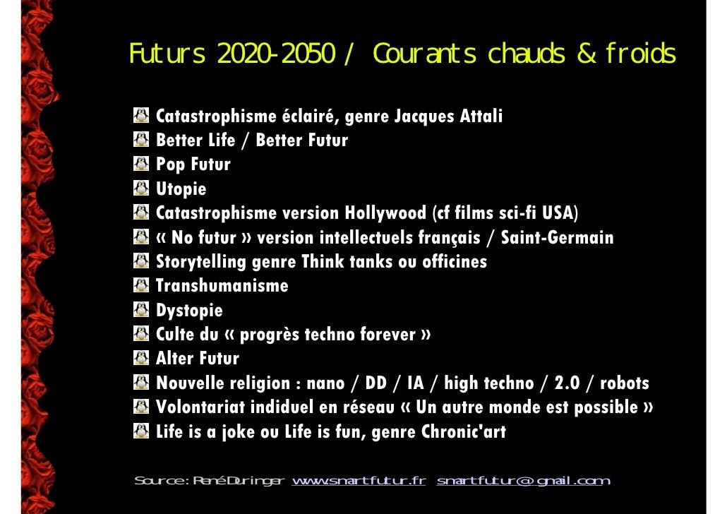 Futurs 2020-2050 / Courants chauds  froids    Catastrophisme éclairé, genre Jacques Attali   Better Life / Better Futur   ...