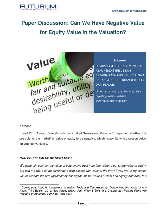 equity valuation thesis Graduate theses and dissertations graduate college 2014 improving customer equity through value creation and value appropriation youngsu lee iowa state university.