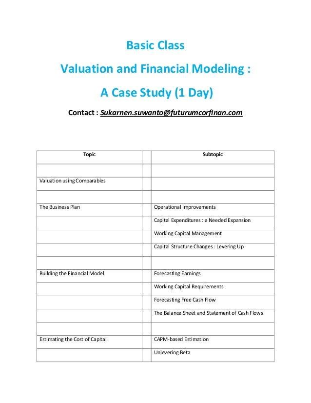Basic Class Valuation and Financial Modeling : A Case Study (1 Day) Contact : Sukarnen.suwanto@futurumcorfinan.com Topic S...