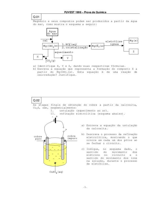 FUVEST 1999 – Prova de Química  Q.01 Magnésio e seus compostos podem ser produzidos a partir da água do mar, como mostra o...