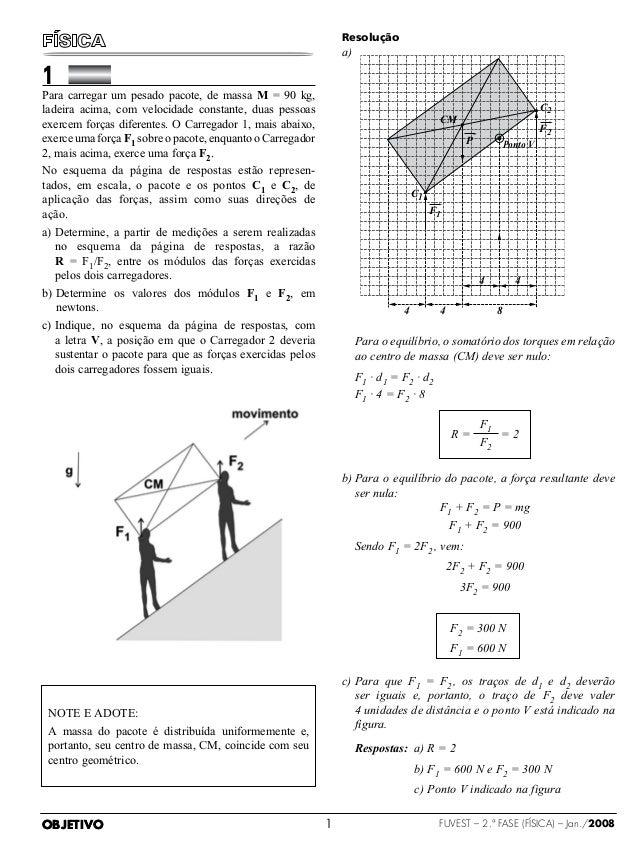 OBJETIVO FUVEST – 2.ª fase (física) – Jan./20081  Para carregar um pesado pacote, de massa M = 90 kg,ladeira acima, co...