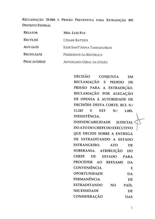 Decisão de Fux manda prender Césare Battisti para extradição