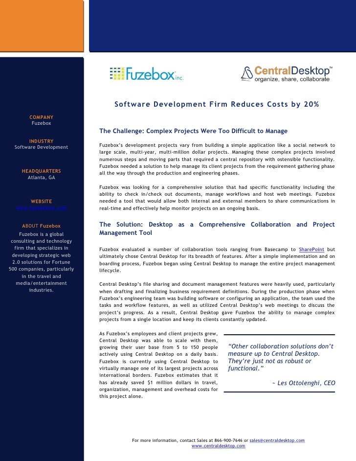Software Development Firm Reduces Costs by 20%         COMPANY          Fuzebox                               The Challeng...