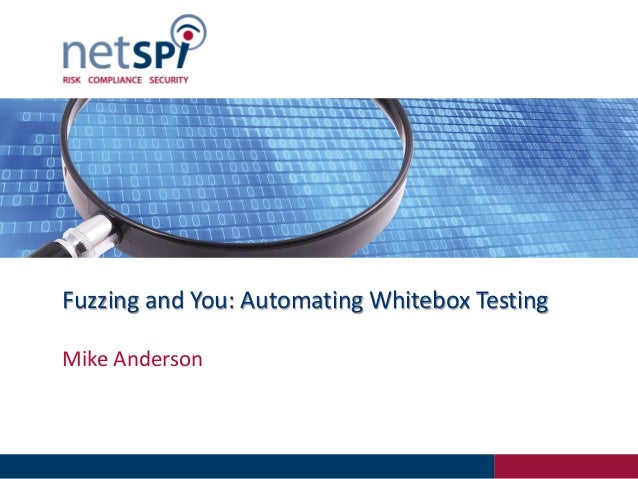 Fuzzing and You: Automating Whitebox TestingMike Anderson