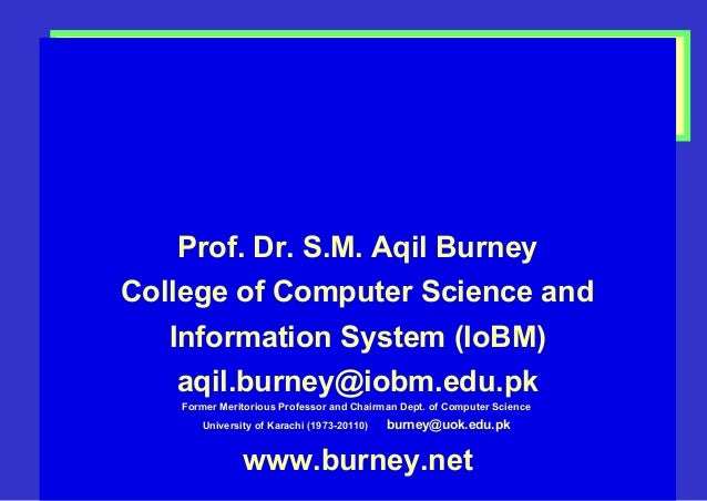1 Fuzzy Logic and Fuzzy Set Theory & Time Series Modeling Prof. Dr. S.M. Aqil Burney College of Computer Science and Infor...