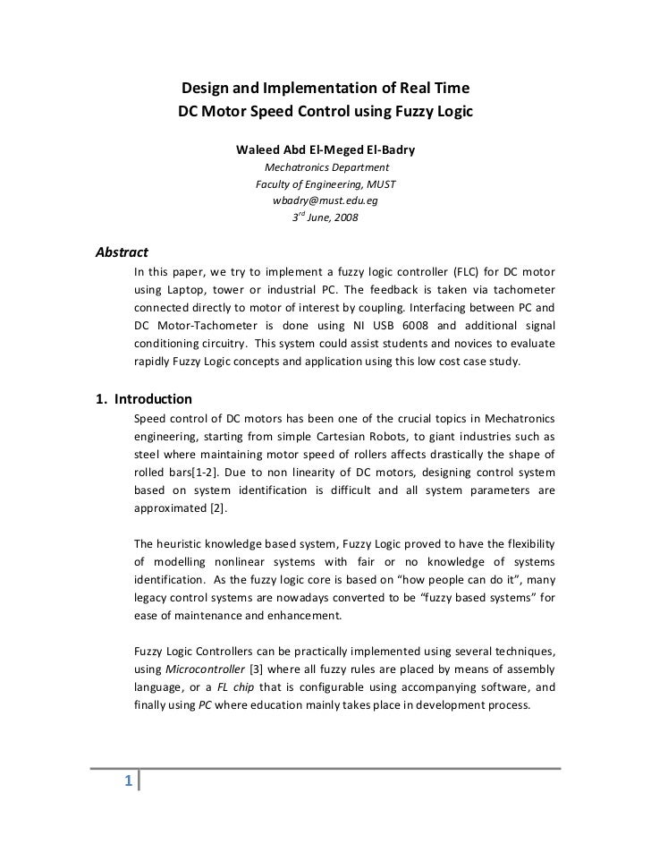 Design and Implementation of Real Time                DC Motor Speed Control using Fuzzy Logic                           W...