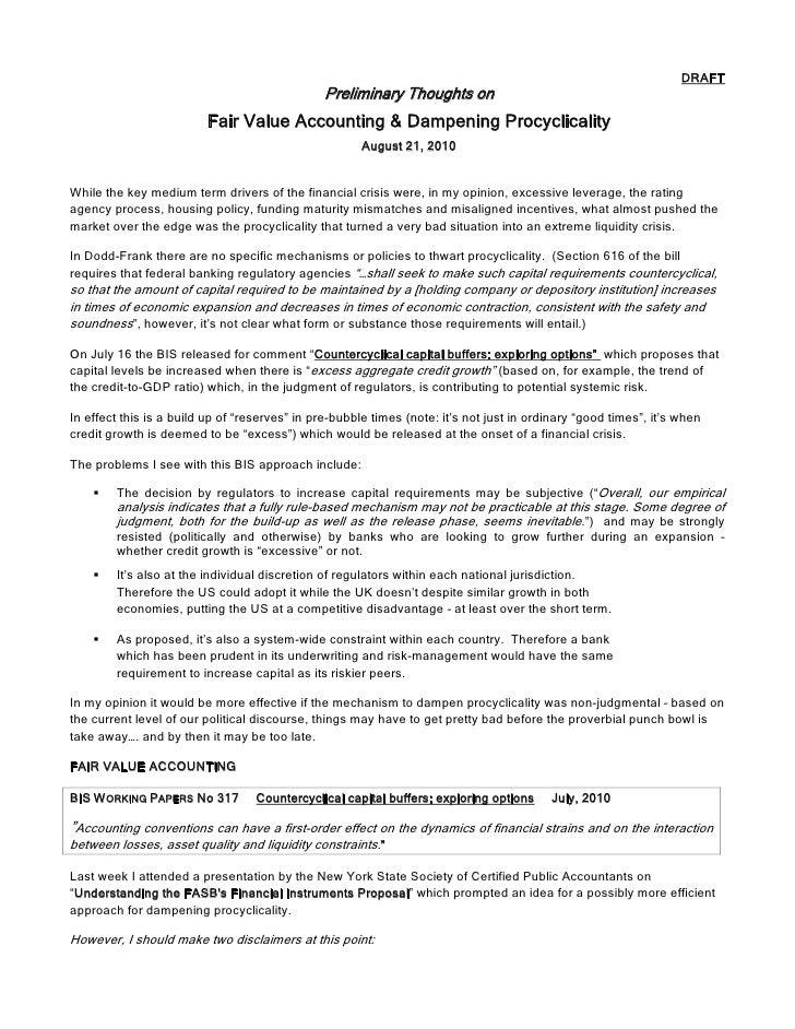 Fv and procyclicality draft jim dillon version 1.0