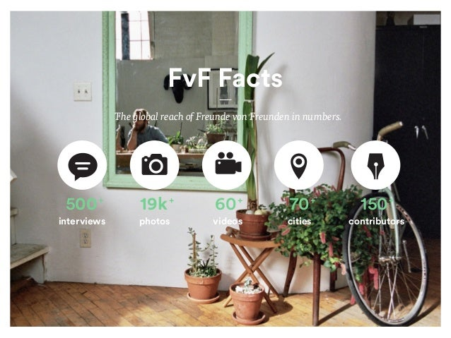 500+ interviews 19k+ photos 60+ videos 70+ cities 150+ contributors FvF Facts The global reach of Freunde von Freunden in ...