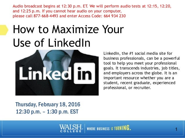 1 How to Maximize Your Use of LinkedIn LinkedIn, the #1 social media site for business professionals, can be a powerful to...