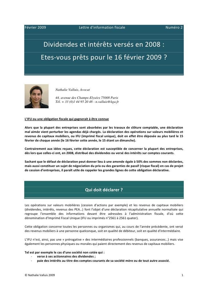 Février 2009                              Lettre d'information fiscale                              Numéro 2              ...