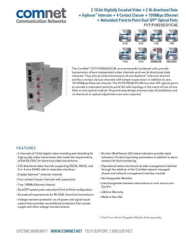ComNet FVT20D2I1C4E Data Sheet
