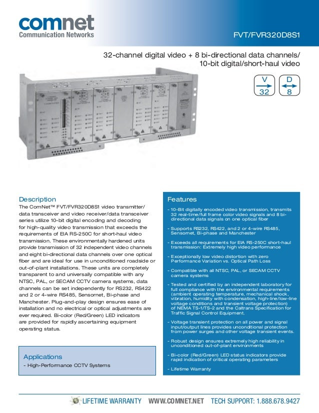 ComNet FVT320D8S1 Data Sheet