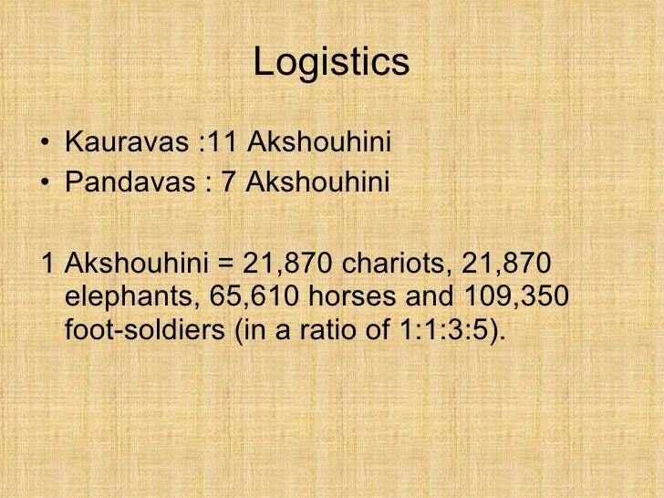 Logistics <ul><li>Kauravas :11 Akshouhini </li></ul><ul><li>Pandavas : 7 Akshouhini </li></ul><ul><li>1 Akshouhini = 21,87...