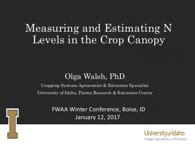 Measuring and Estimating N Levels in the Crop Canopy Olga Walsh, PhD Cropping Systems Agronomist & Extension Specialist Un...