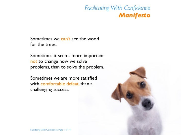 Facilitating With Confidence                                                            Manifesto   Sometimes we can't see ...
