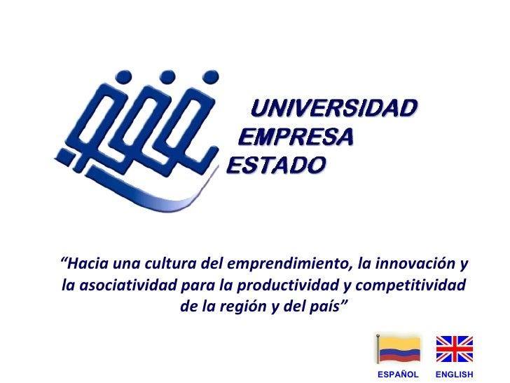 """"""" Hacia una cultura del emprendimiento, la innovación y la asociatividad para la productividad y competitividad de la regi..."""