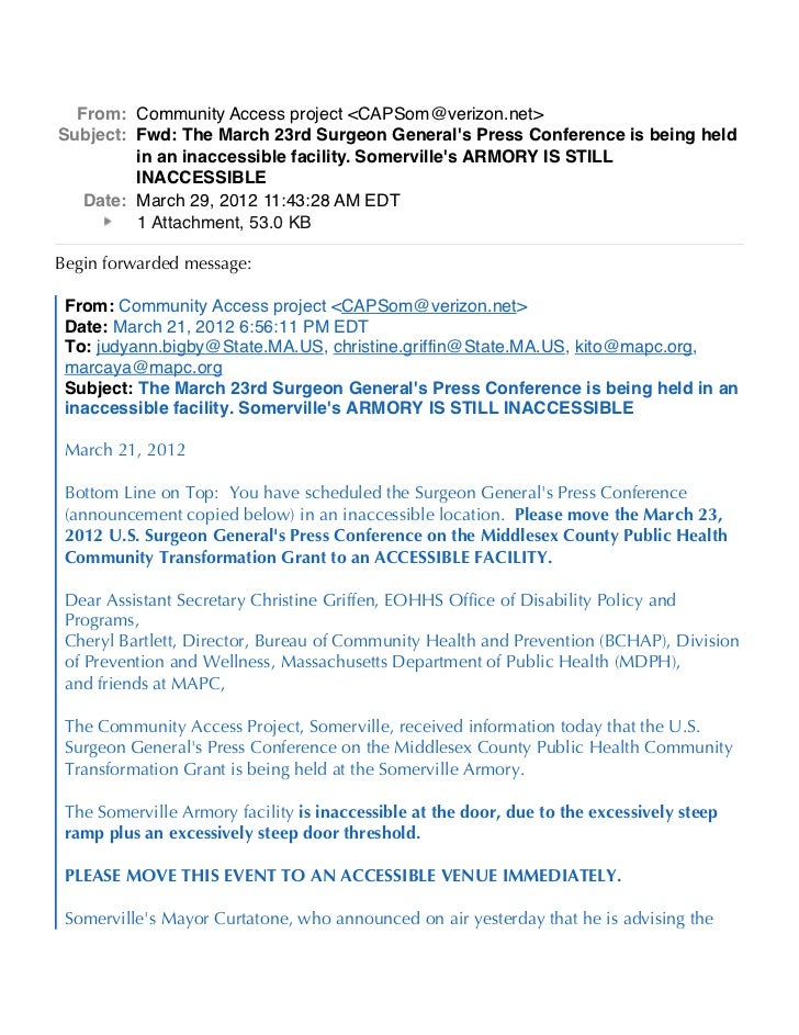 From: Community Access project <CAPSom@verizon.net>Subject: Fwd: The March 23rd Surgeon Generals Press Conference is being...