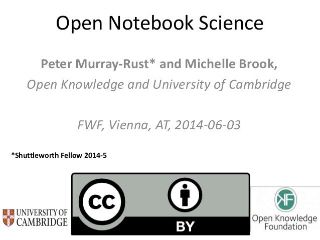 Open Notebook Science Peter Murray-Rust* and Michelle Brook, Open Knowledge and University of Cambridge FWF, Vienna, AT, 2...
