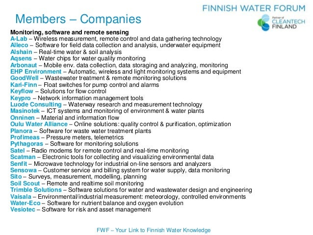 FWF – Your Link to Finnish Water Knowledge Monitoring, software and remote sensing A-Lab – Wireless measurement, remote co...