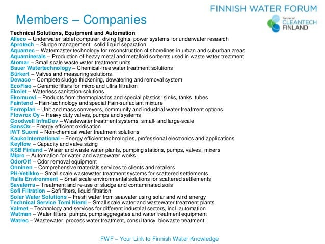 FWF – Your Link to Finnish Water Knowledge Members – Companies Technical Solutions, Equipment and Automation Alleco – Unde...