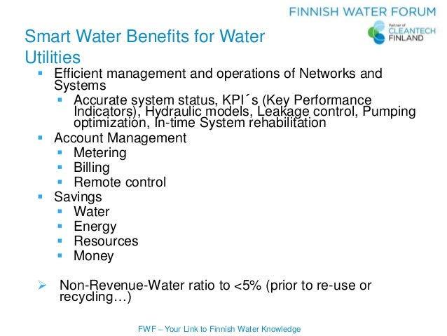 FWF – Your Link to Finnish Water Knowledge Smart Water Benefits for Water Utilities  Efficient management and operations ...