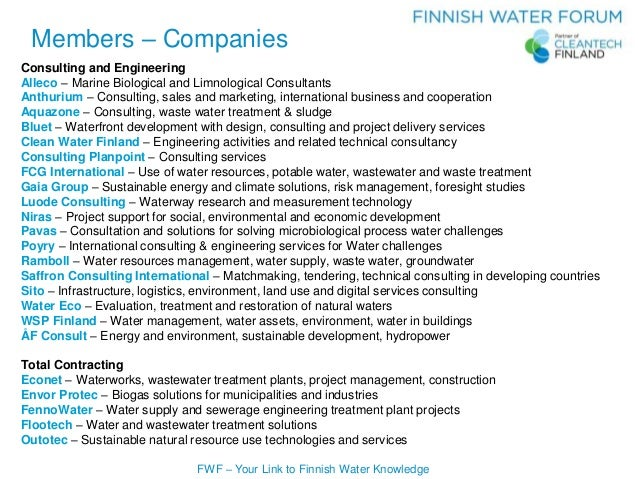 FWF – Your Link to Finnish Water Knowledge Consulting and Engineering Alleco – Marine Biological and Limnological Consulta...