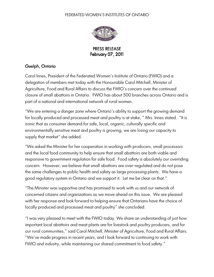 FEDERATED WOMEN'S INSTITUTES OF ONTARIO                                      PRESS RELEASE                                ...