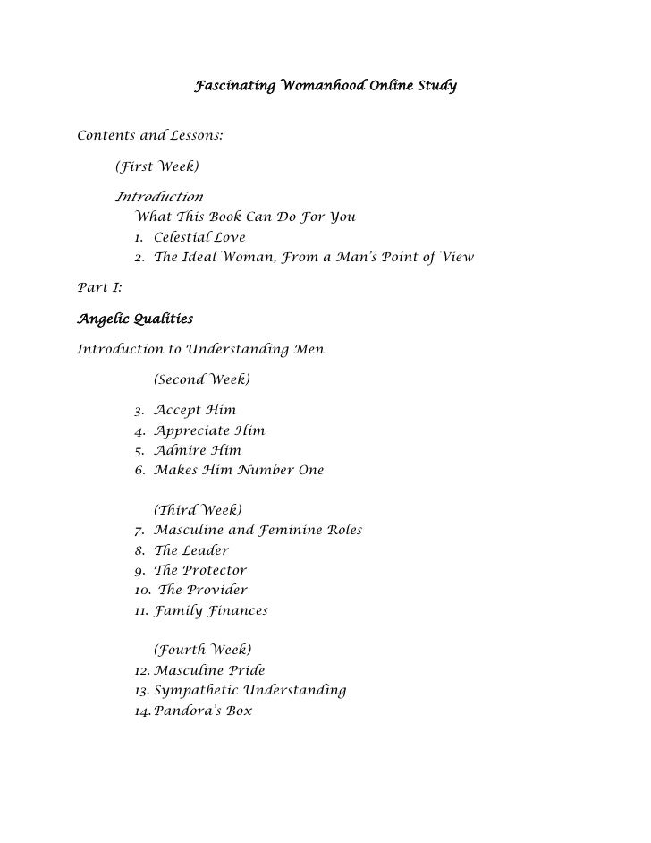 Fascinating Womanhood Online StudyContents and Lessons:     (First Week)     Introduction          What This Book Can Do F...