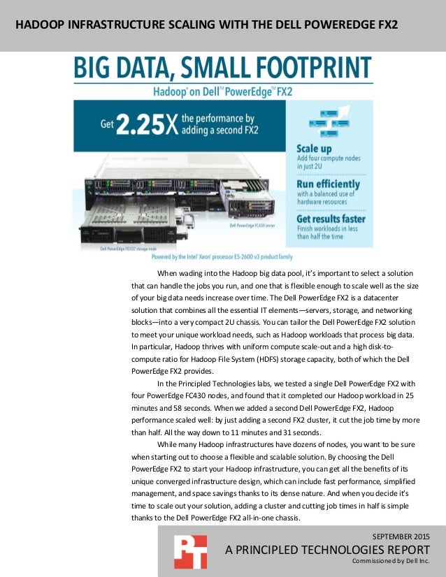 SEPTEMBER 2015 A PRINCIPLED TECHNOLOGIES REPORT Commissioned by Dell Inc. HADOOP INFRASTRUCTURE SCALING WITH THE DELL POWE...