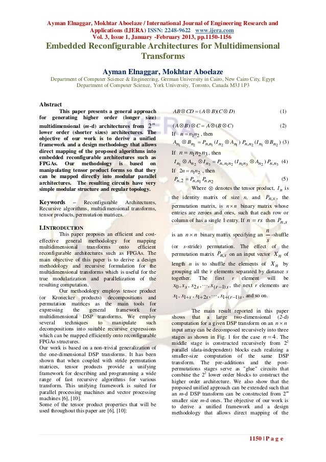 Ayman Elnaggar, Mokhtar Aboelaze / International Journal of Engineering Research and                    Applications (IJER...