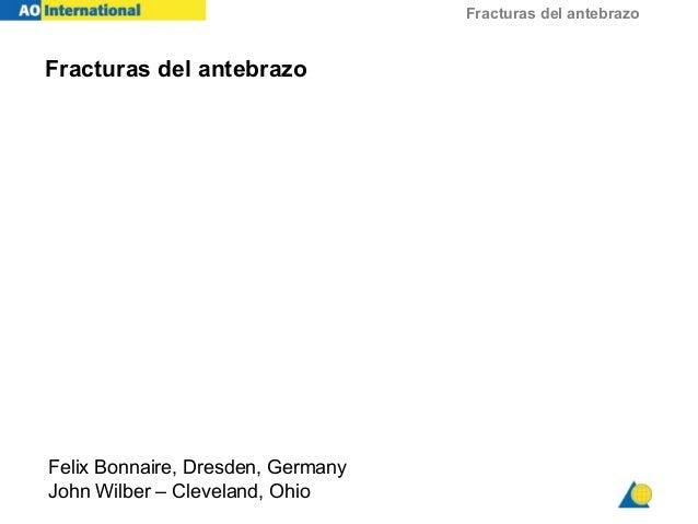 Fracturas del antebrazo Fracturas del antebrazo Felix Bonnaire, Dresden, Germany John Wilber – Cleveland, Ohio