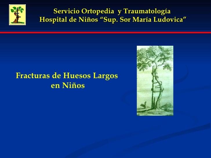 """Servicio Ortopedia  y Traumatología  Hospital de Niños """"Sup. Sor María Ludovica"""" Fracturas de Huesos Largos en Niños"""
