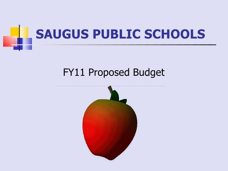 SAUGUS PUBLIC SCHOOLS  FY11 Proposed Budget