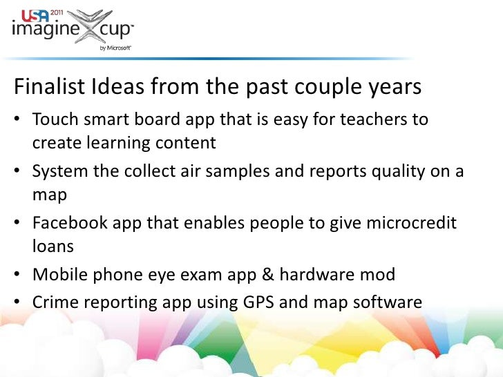 Finalist Ideas from the past couple years<br />Touch smart board app that is easy for teachers to create learning content<...