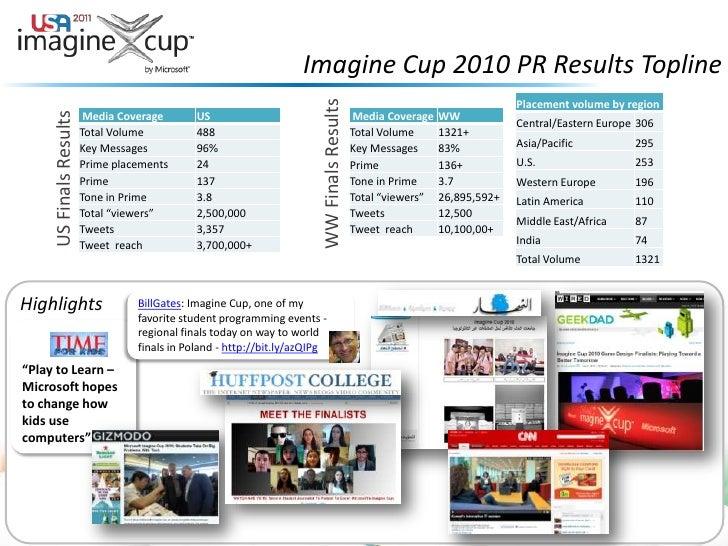 Imagine Cup 2010 PR Results Topline<br />US Finals Results <br />WW Finals Results<br />Highlights<br />BillGates: Imagine...