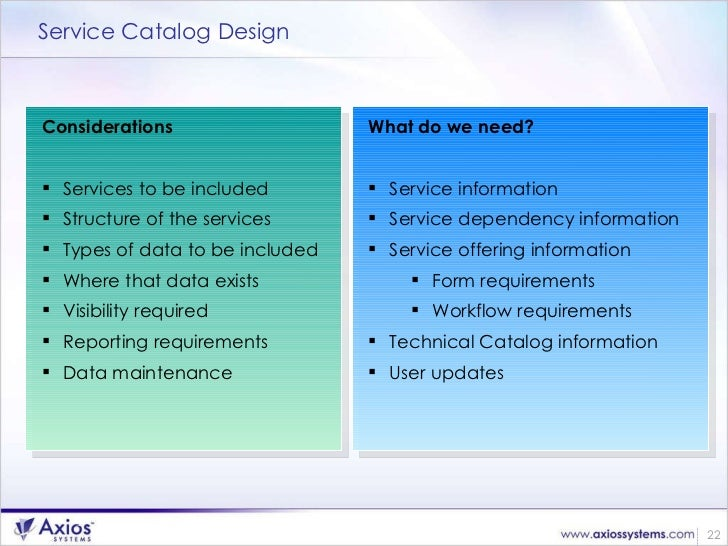 Defining Services for a Service Catalog