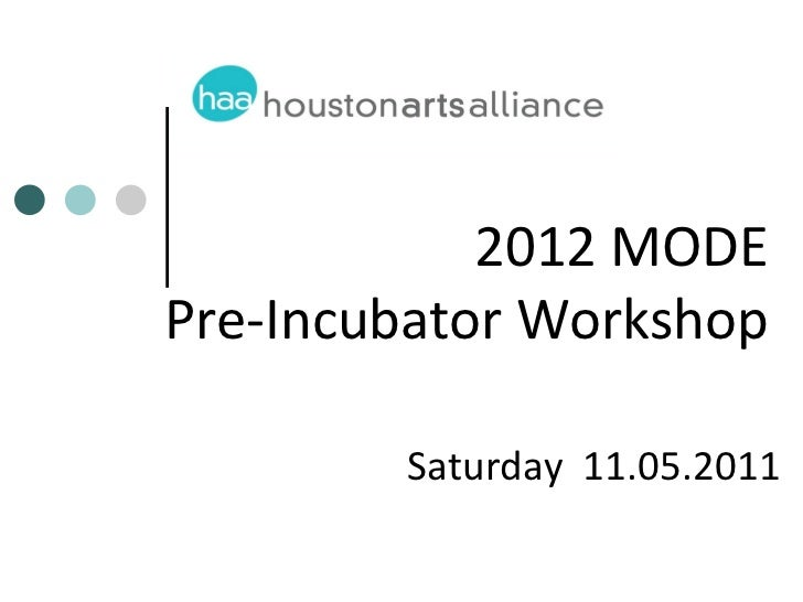 2012 MODEPre-Incubator Workshop        Saturday 11.05.2011