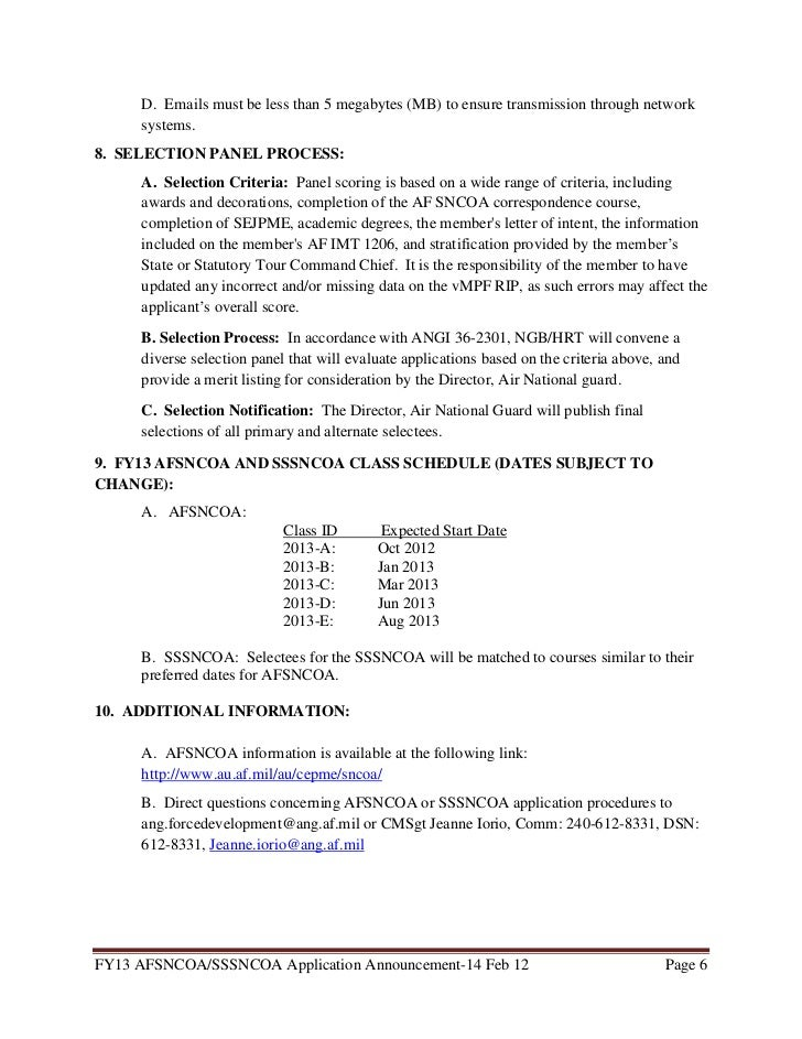 fy13 afsncoa and sssncoa announcement