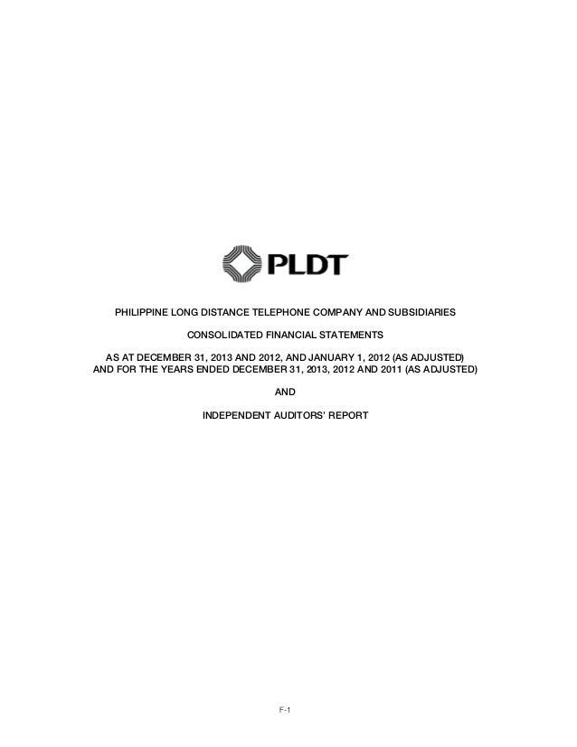 pldt financial statements  2013