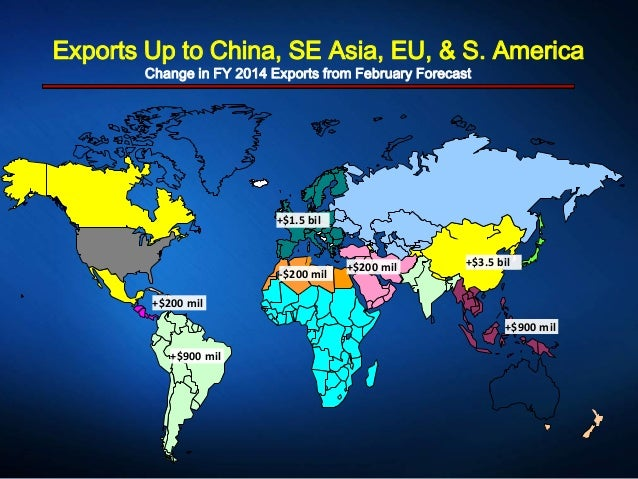 Exports Up to China, SE Asia, EU, & S. America Change in FY 2014 Exports from February Forecast +$1.5 bil +$3.5 bil +$900 ...