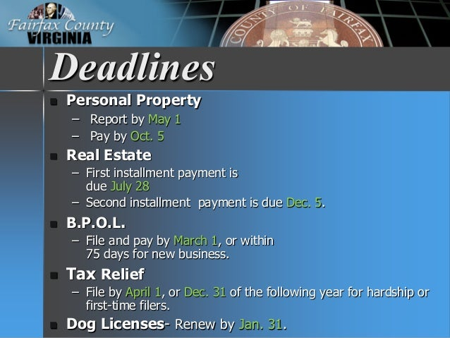 Fairfax County Personal Property Tax >> FY 2016 Tax Facts