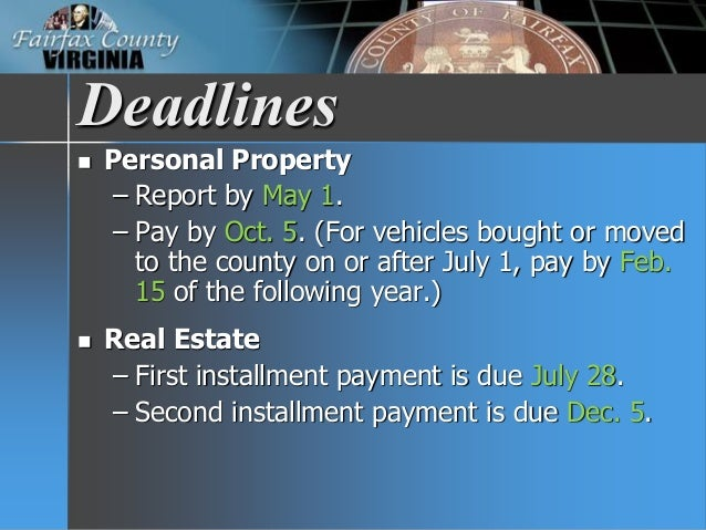 Fairfax County Personal Property Tax >> FY 2017 Tax Facts