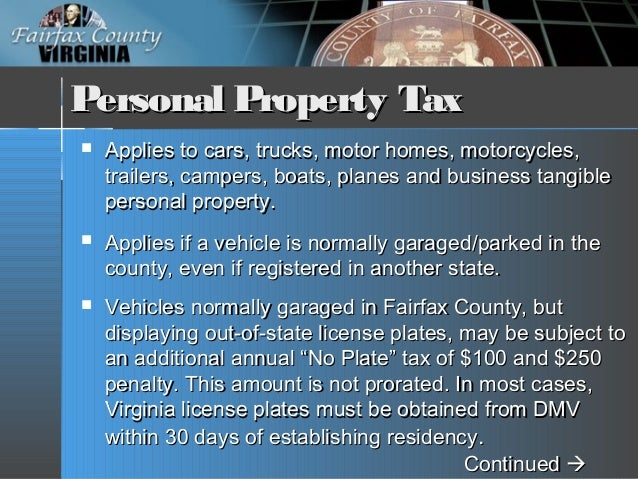 Fairfax County Personal Property Tax >> FY 2019 Tax Facts