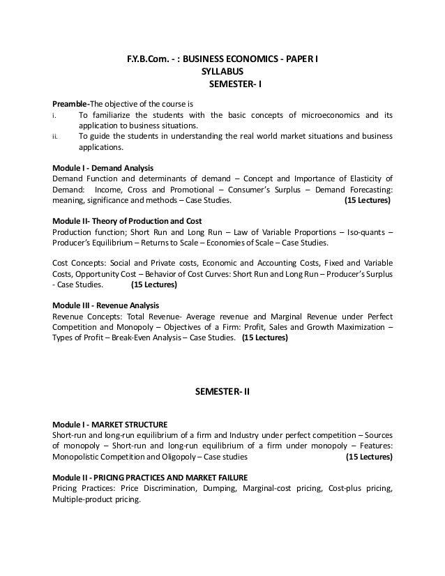 FYBCOM ECONOMICS NOTES PDF