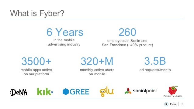2 What is Fyber? in the mobile advertising industry monthly active users on mobile 6 Years 320+M employees in Berlin and S...